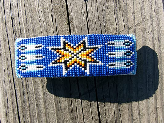 Native American style handmade beaded barrette