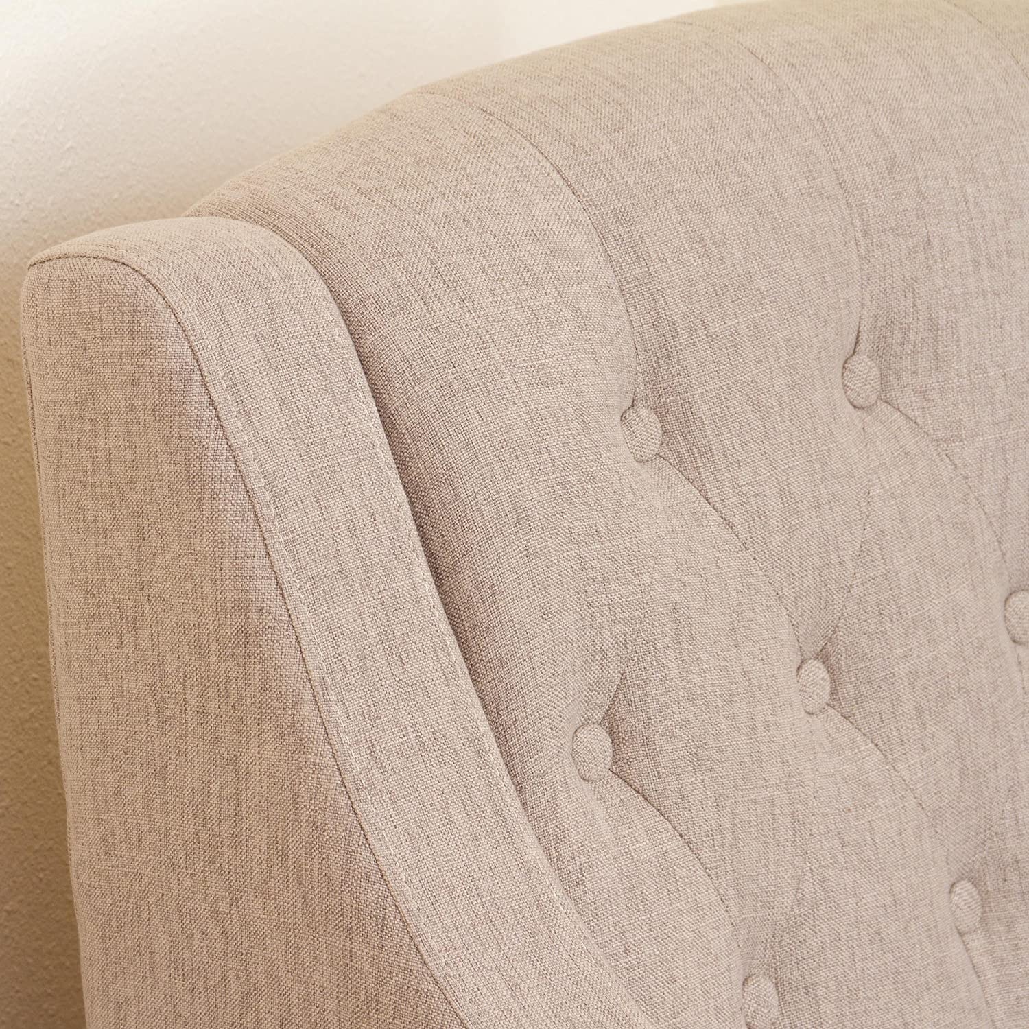 Best Selling Evans Tufted Fabric Chair and Ottoman, Off-White