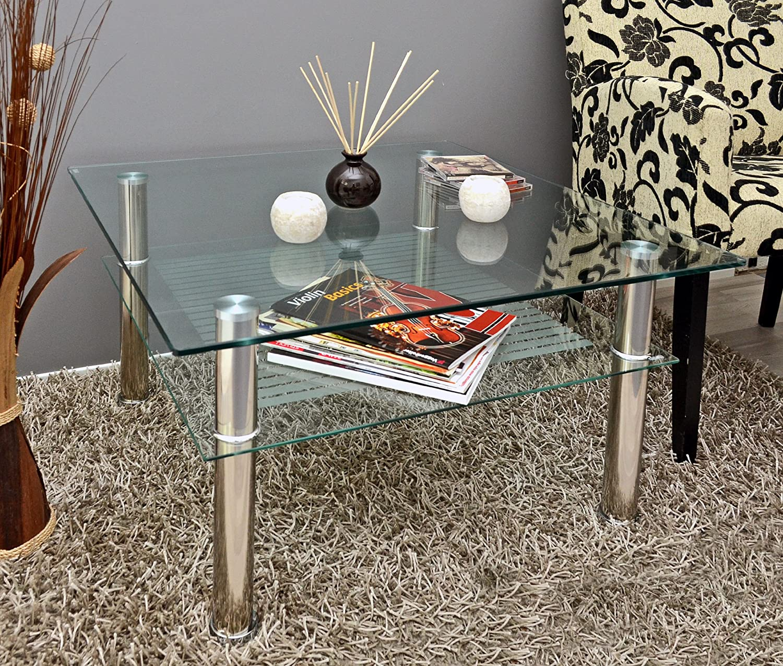 Sencilla mesa auxiliar cuadrada con esquinas redondeadas y dos niveles útiles.