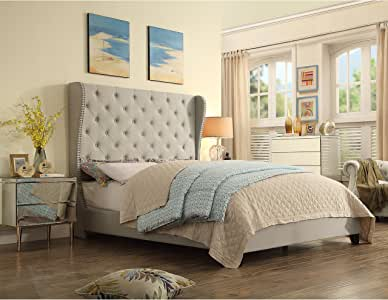 Rosevera Olympia Upholstered Bed with Nailhead Wingback