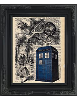 dictionary art print tardis alice and cheshire cat printed on recycled vintage