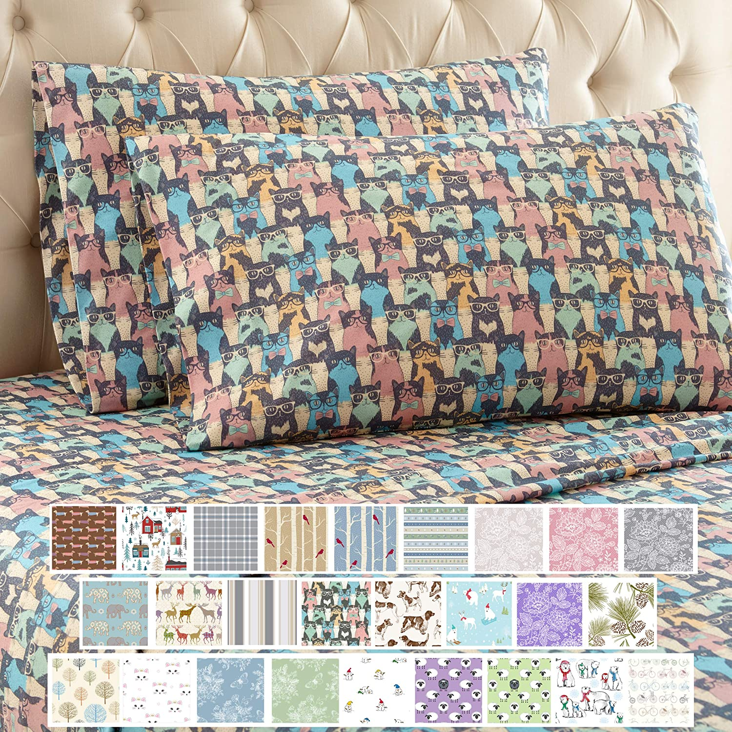 Thermee Micro Flannel Shavel Home Products Sheet Set, California Queen, Cat Party