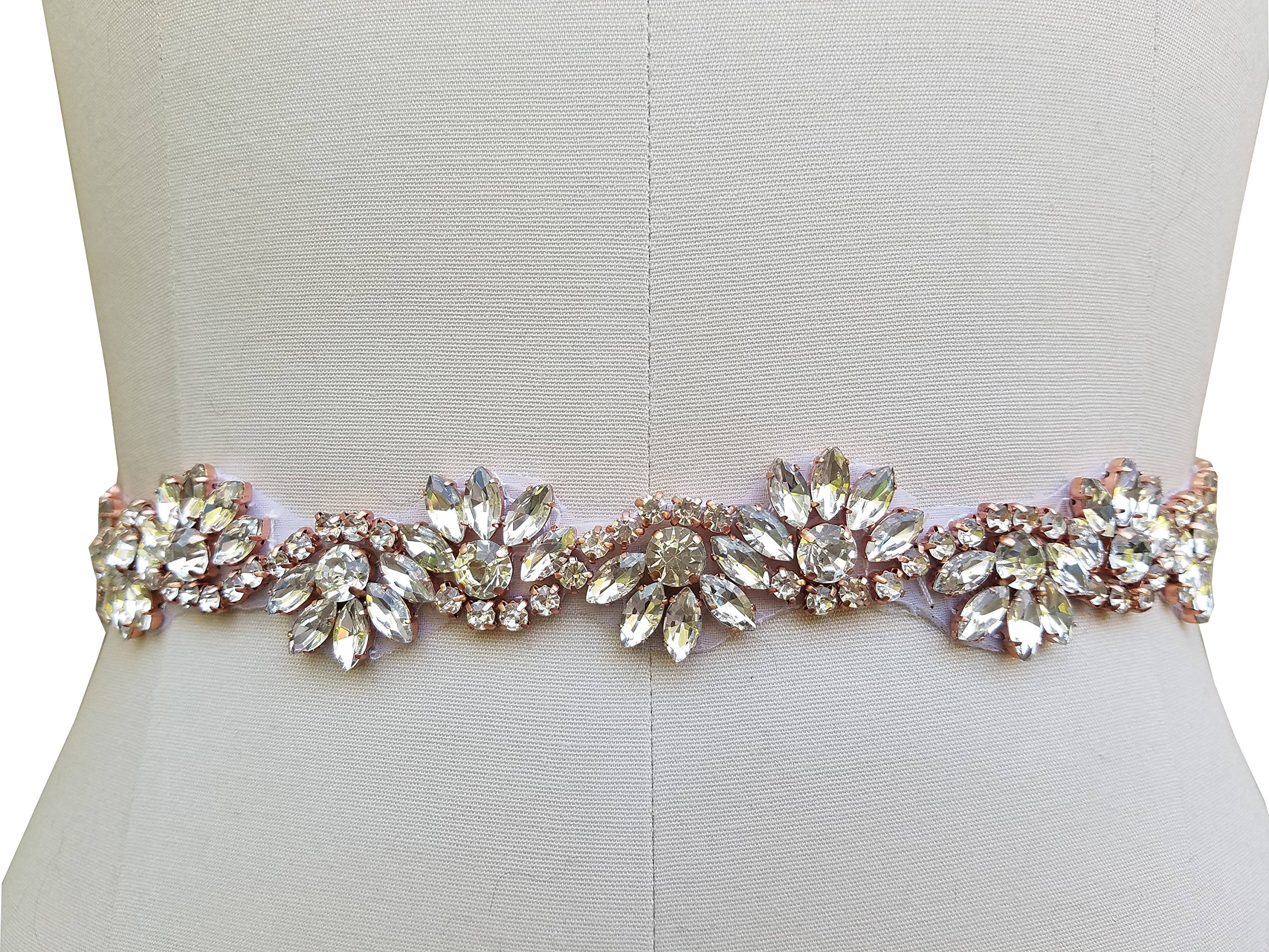 Bridal Wedding Gown Belt Ivory with Beaded Rhinestone Piece in 3 Color Choice (Rose Gold in Ivory)