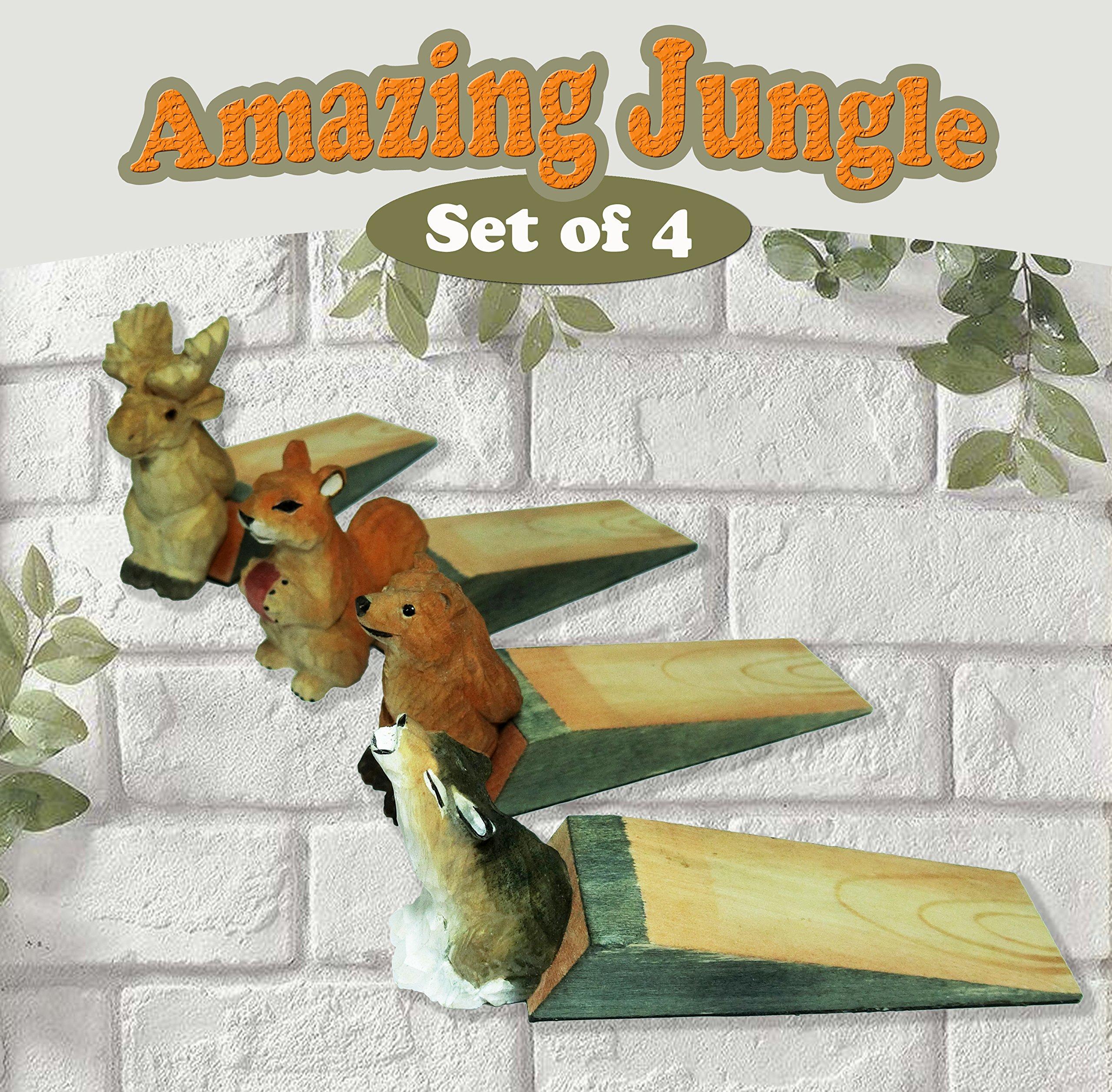 Friendly House Wooden Animal Novelty Wedge Door Stopper (Amazing Jungle Set of 4)