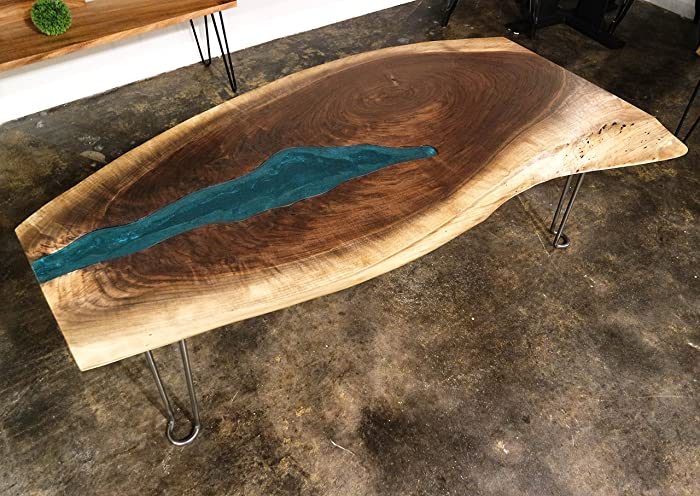 Pleasing Amazon Com Black Walnut With Blue Glass River Live Edge Download Free Architecture Designs Sospemadebymaigaardcom