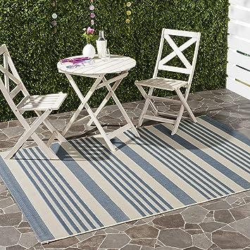 Amazon Com Safavieh Courtyard Collection Cy6062 Stripe Indoor Outdoor Non Shedding Stain Resistant Patio Backyard Area Rug 4 X 5 7 Beige Blue Furniture Decor