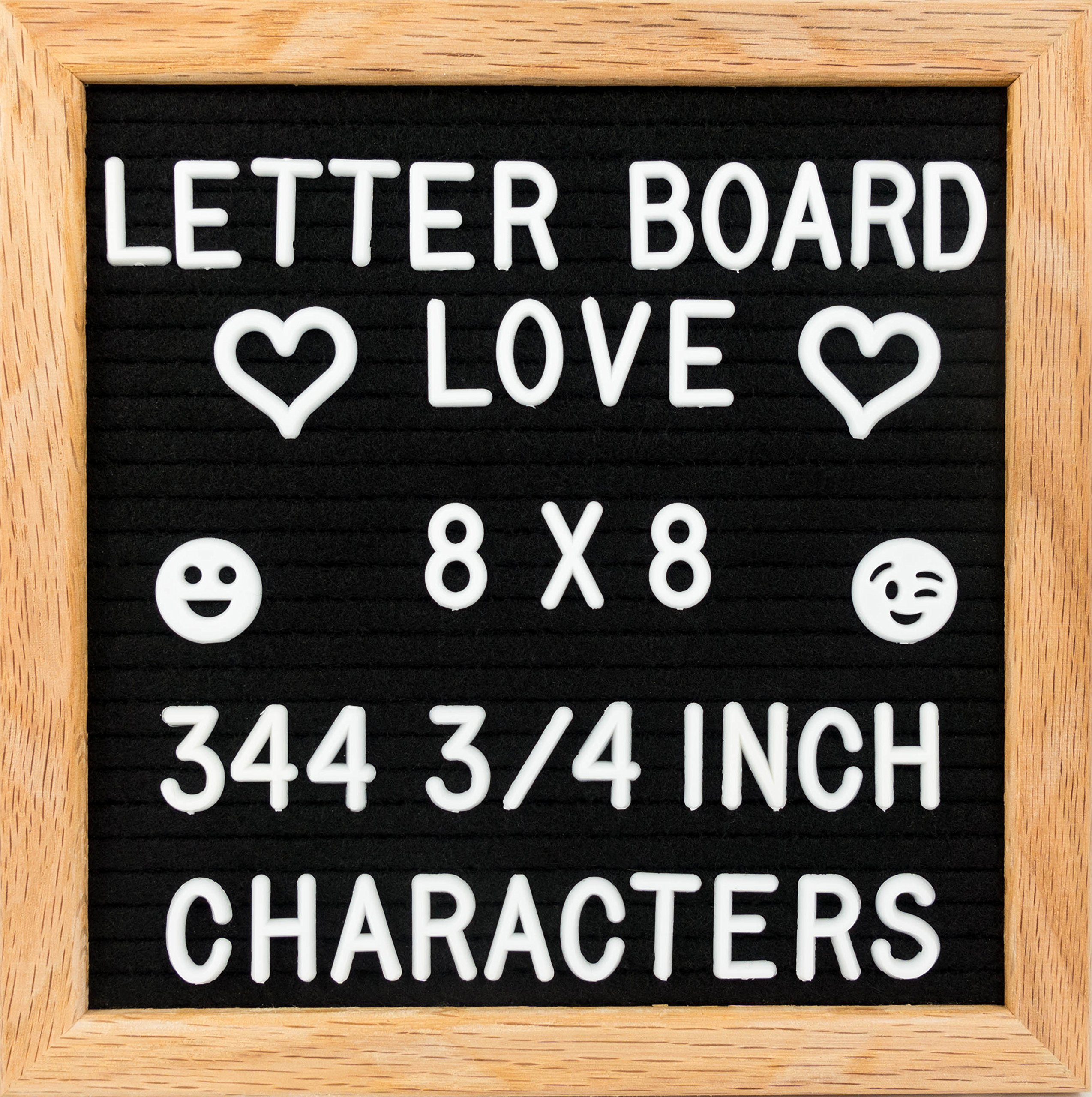 8x8 Small Felt Letter Board - 344-Piece 3/4'' Letter Set + Special Characters and Canvas Letter Bag. (Black Felt)