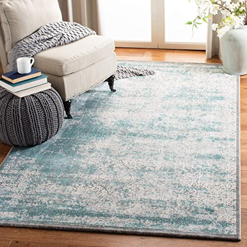 Safavieh Passion Collection PAS401B Vintage Medallion Watercolor Turquoise and Ivory Distressed Area Rug 9 x 12