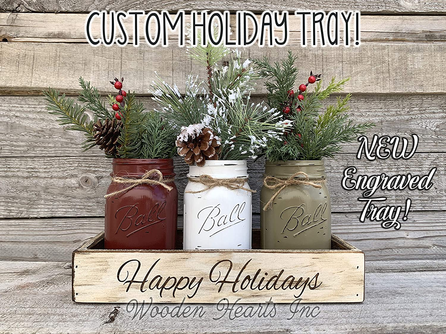 Custom ENGRAVED Wood Tray Mason Canning JARS /& Florals Optional Christmas Centerpiece Kitchen Table Decor Distressed Rustic Personalized Wedding Baby Shower Anniversary Decor Happy Holidays
