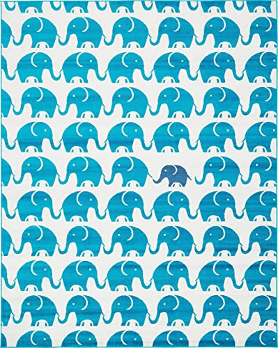Unique Loom Metro Collection Modern Elephants Bright Colors Kids Turquoise Area Rug 8 0 x 10 0
