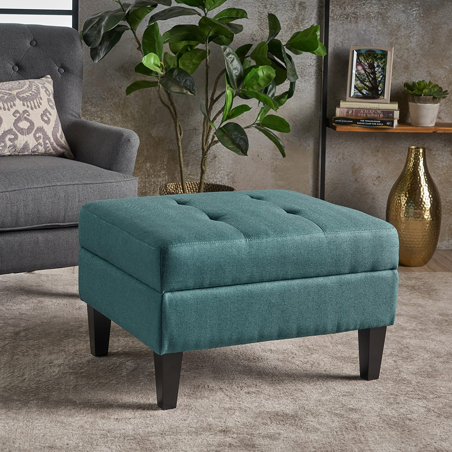 Christopher Knight Home 301490 Bridger Teal Fabric Storage Ottoman,
