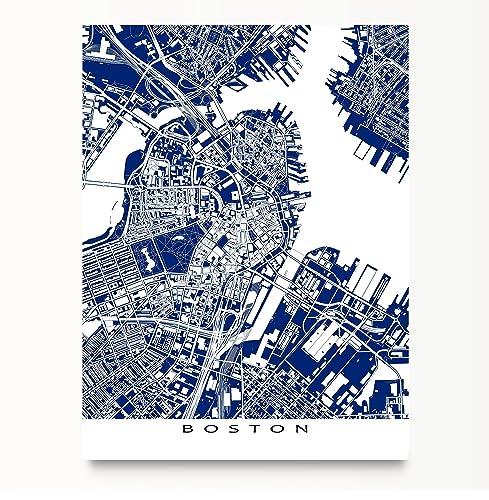 Amazon boston map art print massachusetts navy blue boston map art print massachusetts navy blue blueprint style city artwork malvernweather Image collections