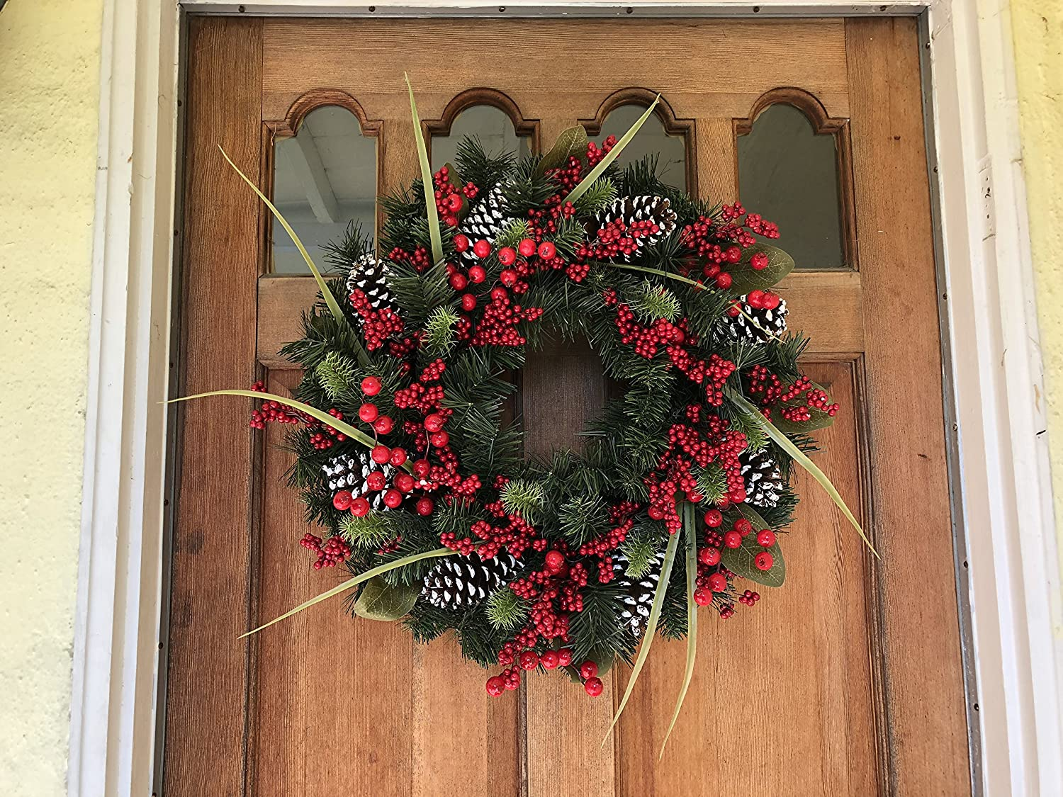 Tunbridge Winter Berry Wreath 22 Inch - Elegant and Vibrant Design Brighten Door Decor, Beautiful White Gift Box and Hanging Loop, Approved for Covered Outdoor Use The Wreath Depot