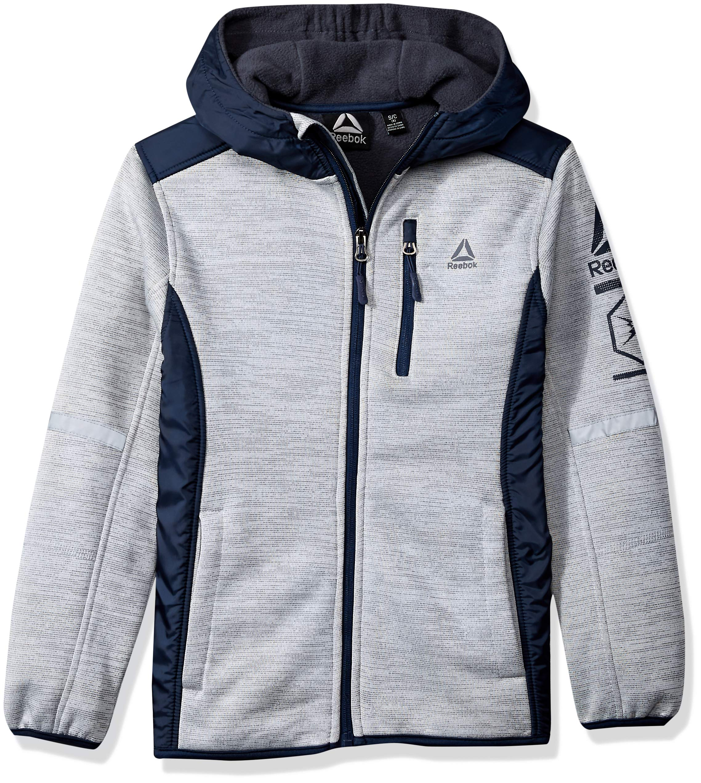 Reebok Boys' Big Active Simple Soft Fleece Jacket, Grey/Navy, 10/12