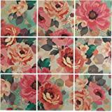 "Amazon Brand – Rivet 9-Piece Pastel Floral Art Mural on Wood, 36"" x 36"""