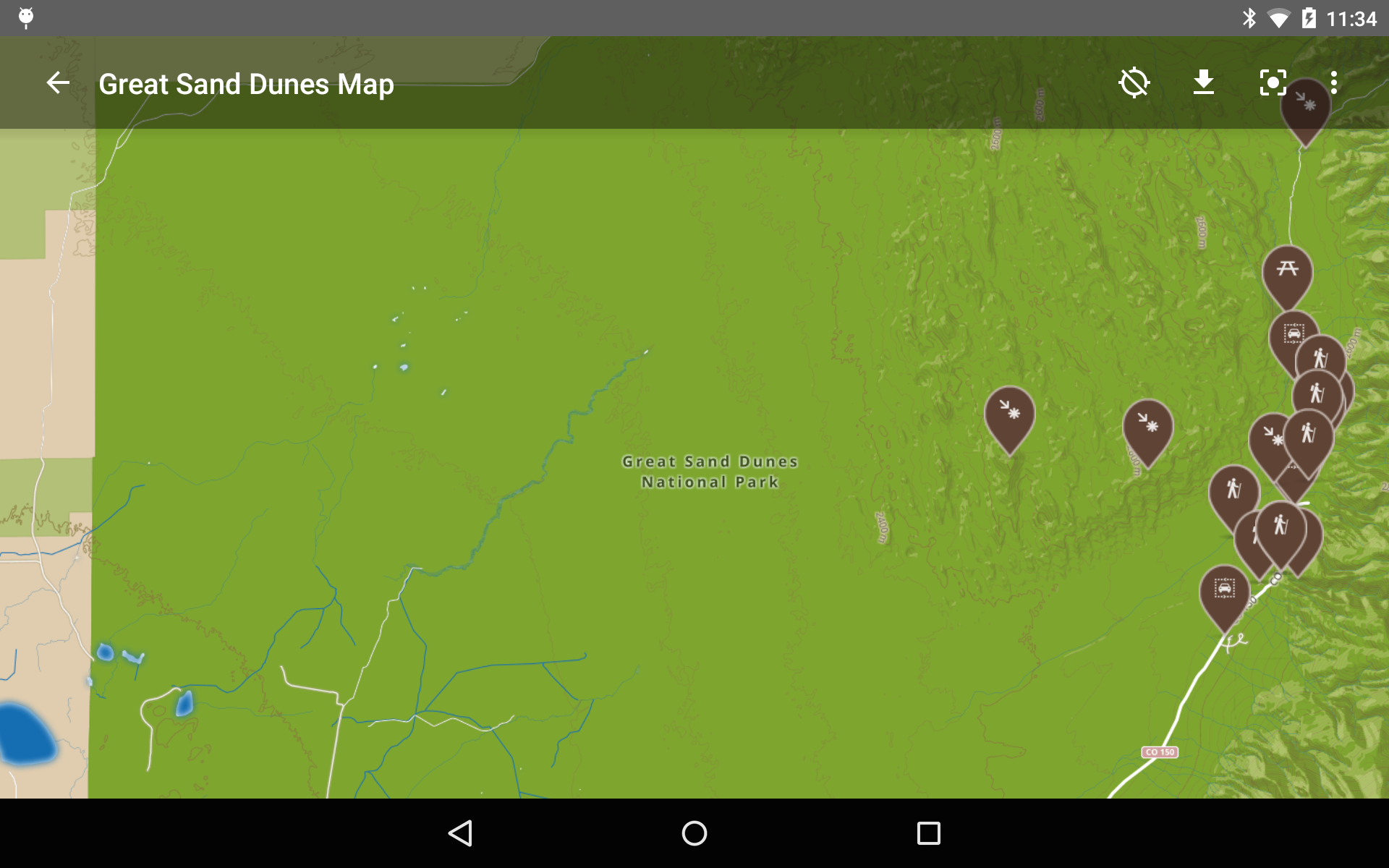 Sand Dunes Colorado Map.Amazon Com Great Sand Dunes National Park By Chimani Appstore For