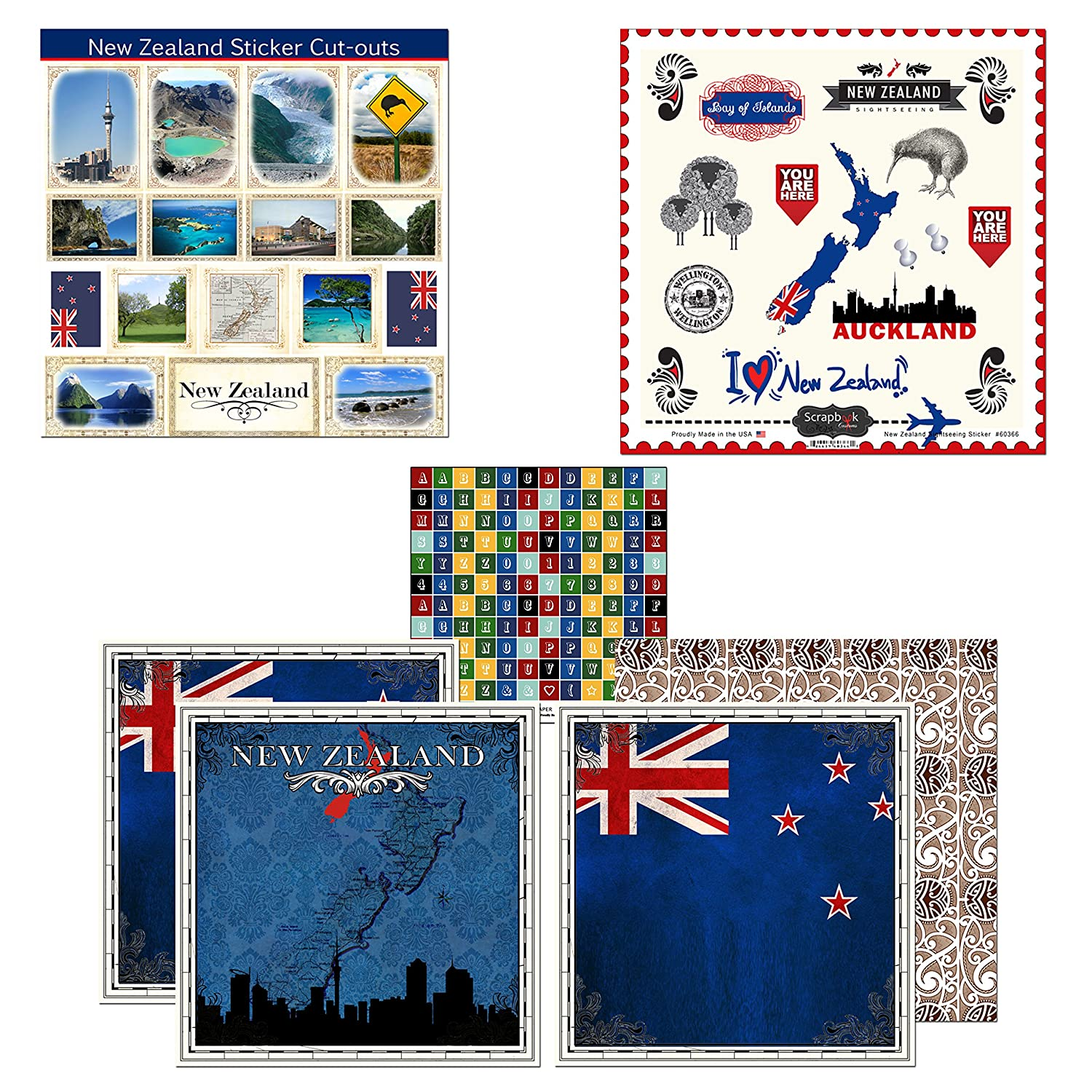 Amazon com scrapbook customs themed paper stickers scrapbook kit zealand sightseeing