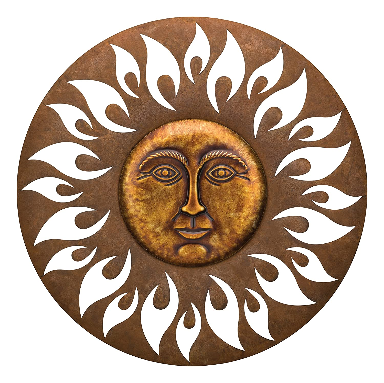 Sonne Wanddekoration 60cm Metall deko Garten Terrasse braun metal garden sun