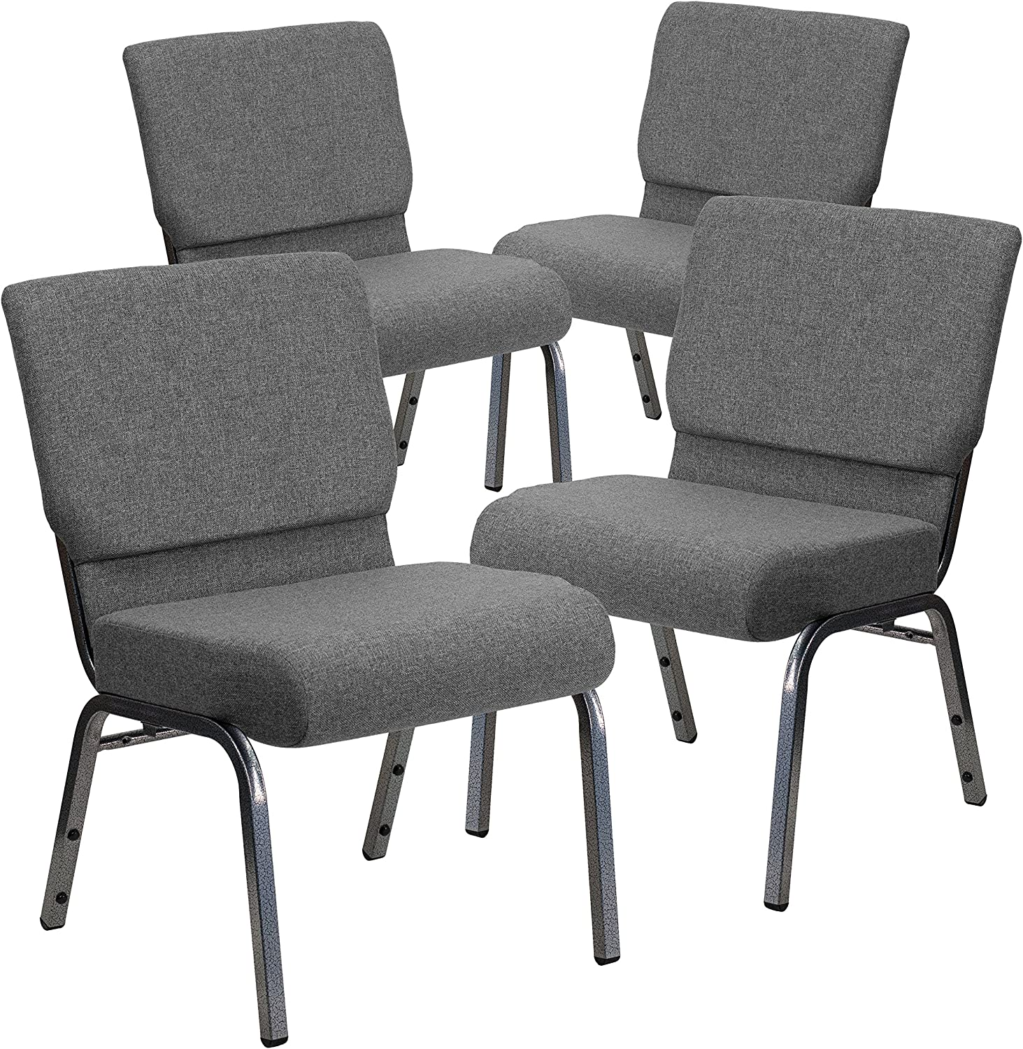 Flash Furniture 4 Pk. HERCULES Series 21''W Stacking Church Chair in Gray Fabric - Silver Vein Frame