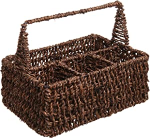MyGift Brown Hand Woven Seagrass 4 Compartment Home Storage Basket/Rustic Organizer Bin w/Handle