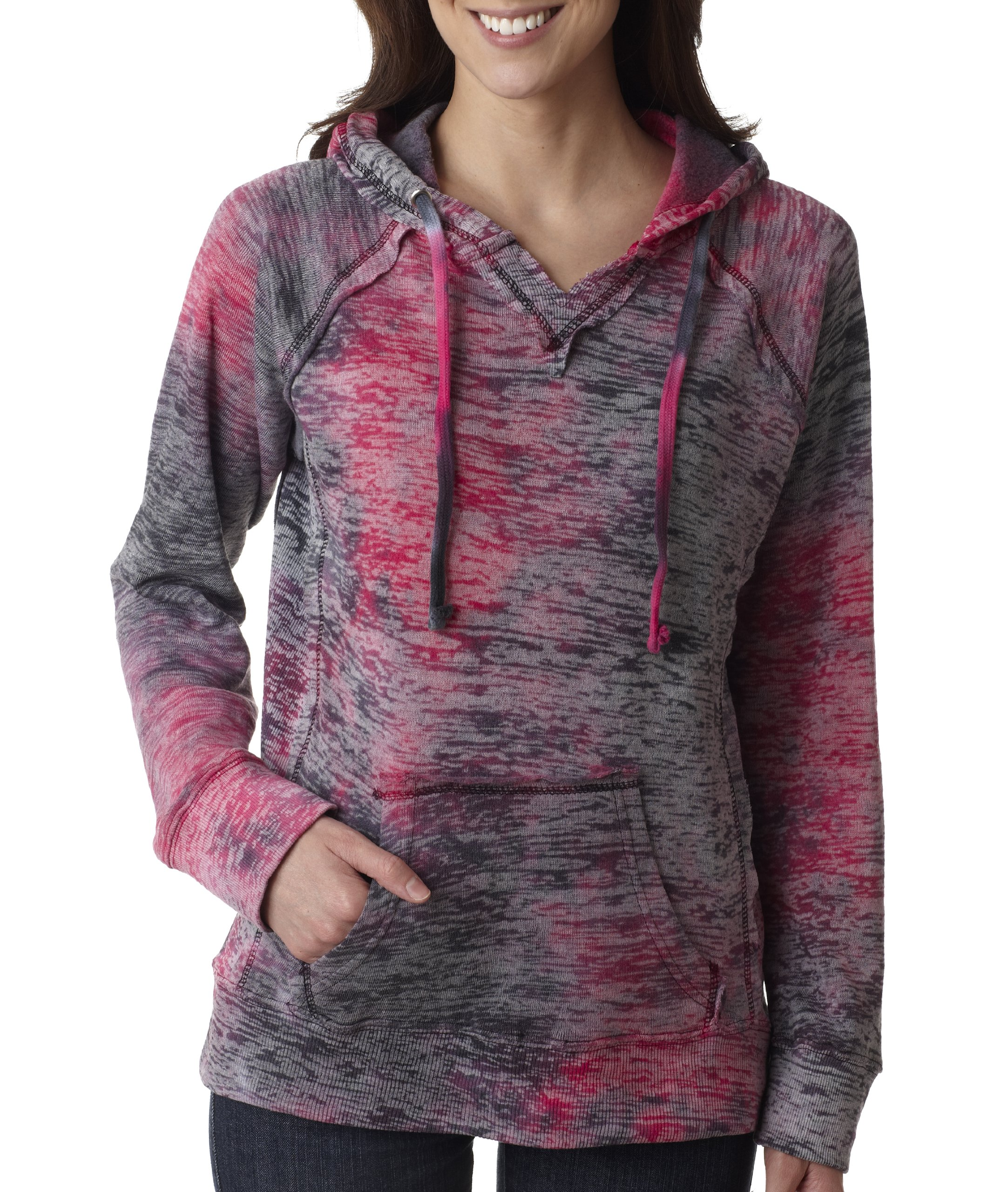 MV Sport Women's Courtney Burnout Hooded Pullover Blend Fleece (Raspberry Swirl) (2X-Large)
