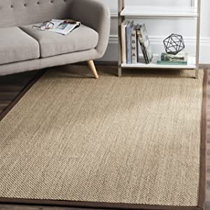 Safavieh Natural Fiber Collection NF141C Tiger Paw Weave Maize and Brown Sisal Area Rug (6' x 9')
