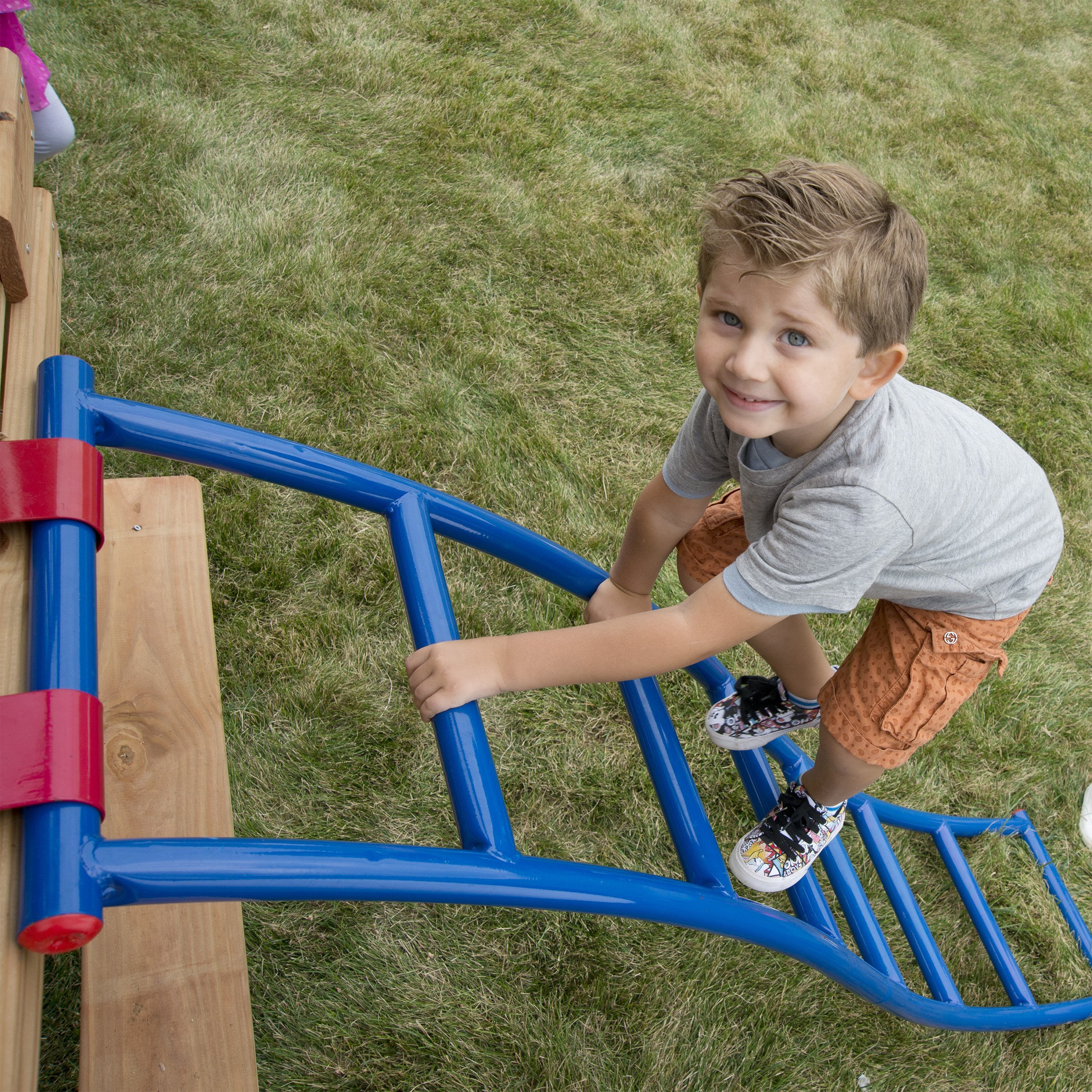 Swing-N-Slide NE 5040 Metal Arch Ladder with Multiple Configurations for Swing Sets, Play Sets & Playhouses, Blue & Red by Swing-N-Slide (Image #3)
