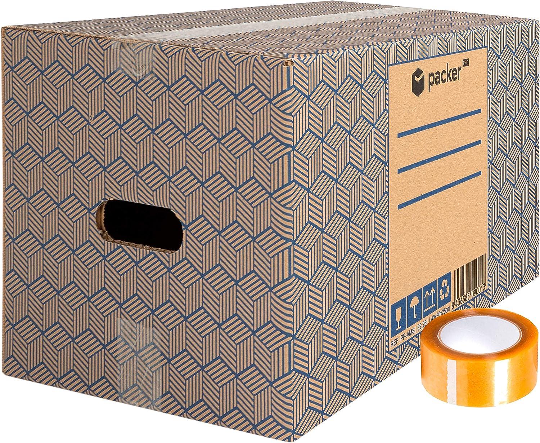 Pack 20 Cajas Carton para Mudanzas y Almacenaje 430x300x250mm Ultra Resistentes con Asas + Cinta Adhesiva, 100% ECO Box   Packer PRO