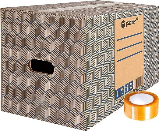 packer Pro Pack 20 Cajas Carton para Mudanzas y Almacenaje Ultra Resistentes con Asas y Cinta Adhesiva 430x300x250mm: Amazon.es: Oficina y papelería