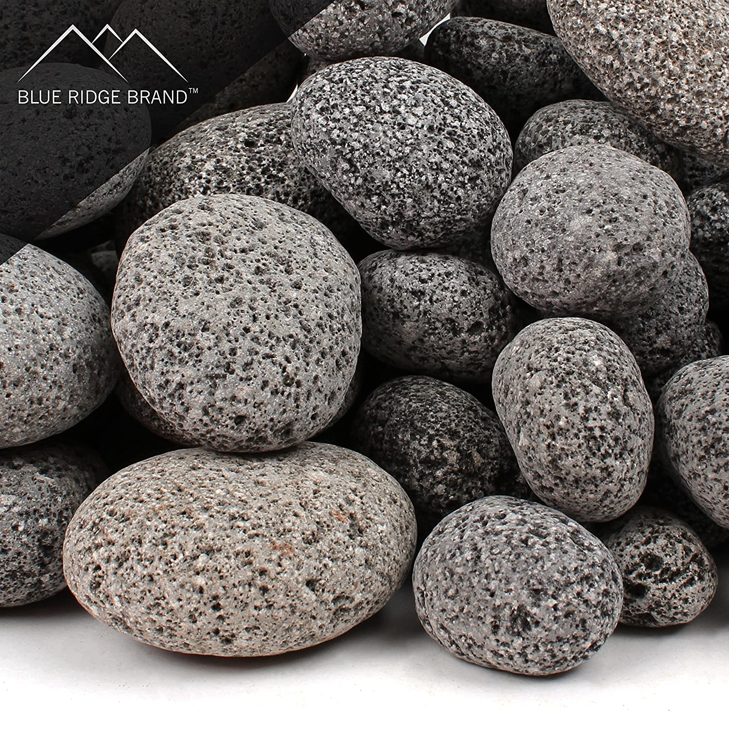 Blue Ridge Brand trade; Lava Rock - 10-Pound Tumbled Lava Stones for Fire Pit - 2 Black/Gray Lava Pebbles - Fire Glass Substitute - Landscaping Rocks