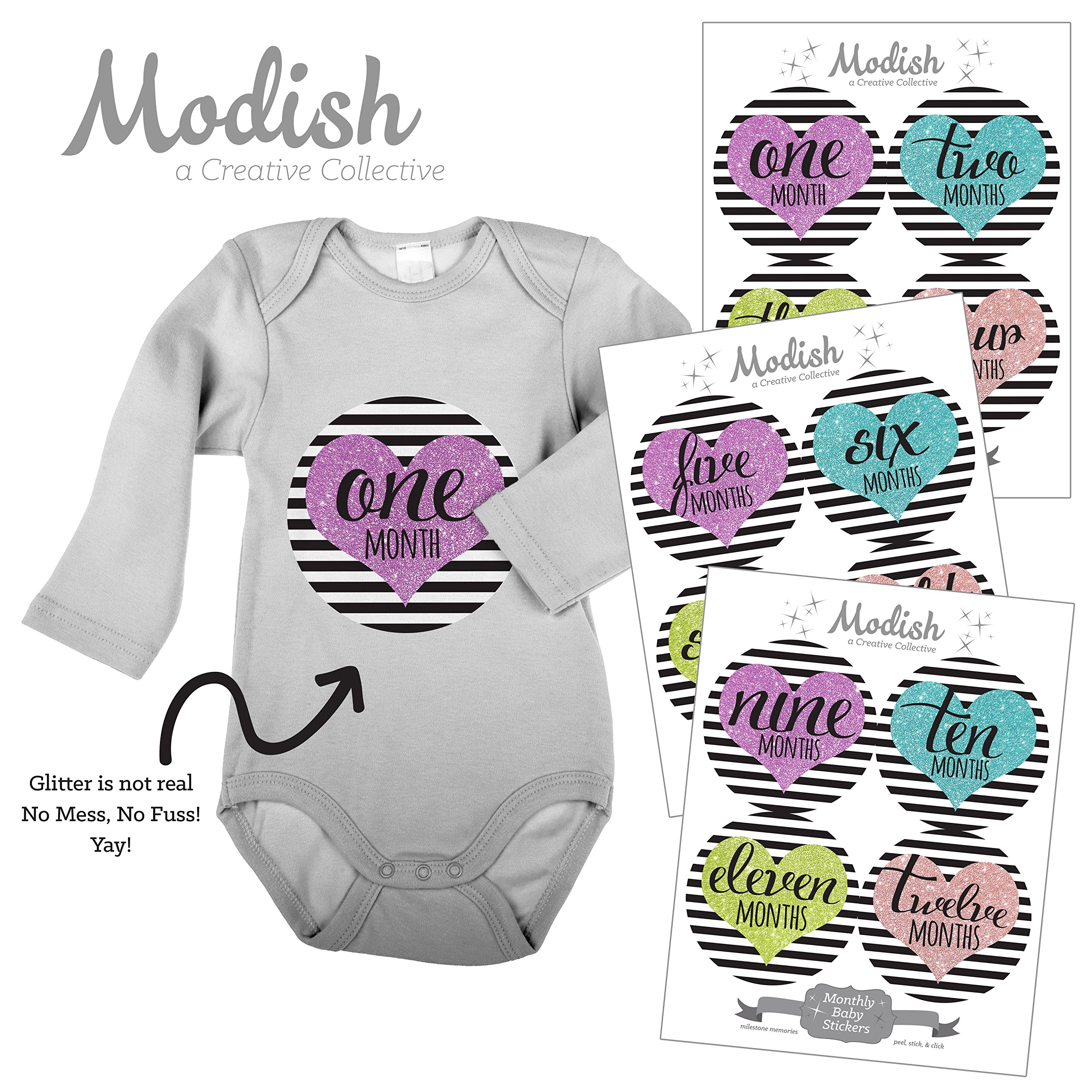12 Monthly Baby Stickers, Hearts, Black Stripes, Baby Month Stickers Girl, Baby Book Keepsake, Baby Shower Gift