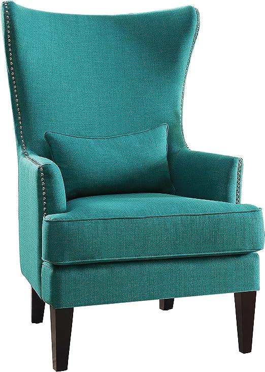 Amazon Com Homelegance Avina Fabric Wingback Chair Teal Furniture Decor