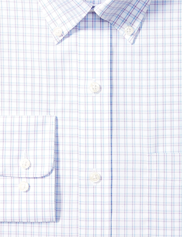 Amazon Brand - Buttoned Down Men's Classic Fit Check Pattern Dress Shirt Purple (Purple/Blue Check)