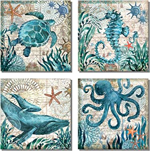 "789Art - Ocean Theme Mediterranean Style Canvas Prints Sea Animal Octopus Turtle Seahorse Whale Pictures Posters Bathroom Living Room Office Bedroom Decor(12""x12""x4pcs Framed)"