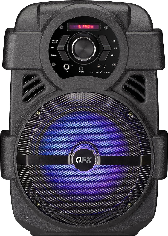 "QFX BT-155 4/"" Rechargeable Cylinder Speaker USB//SD//FM Radio Bluetooth"