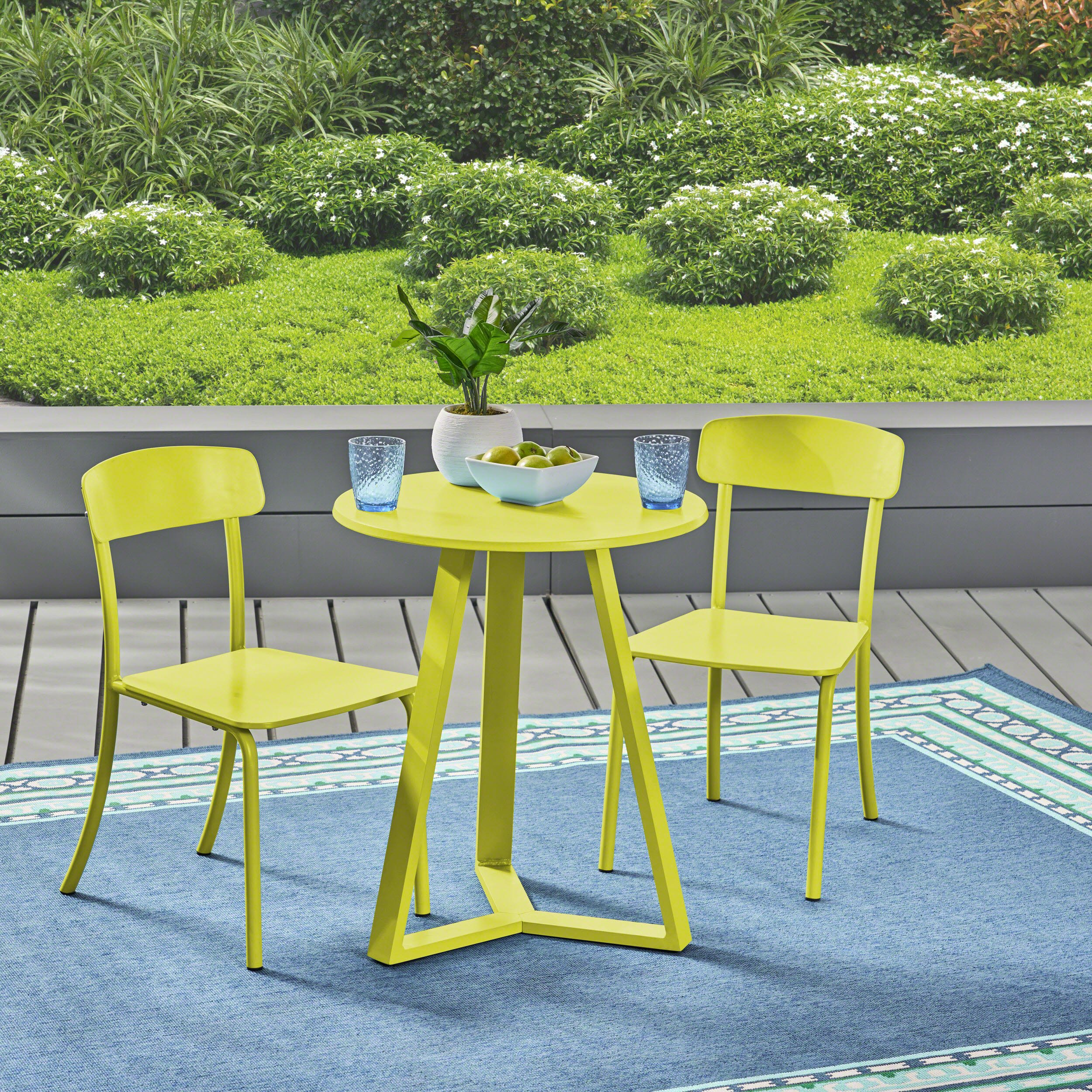 Great Deal Furniture Larissa Outdoor Bistro Set, Matte Lime Green