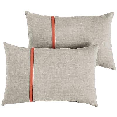 Mozaic AMPS113631 Indoor Outdoor Sunbrella Lumbar Pillows, Set of 2, 12 x 18, Silver Grey & Canvas Melon Orange : Garden & Outdoor
