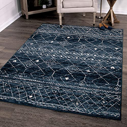 Orian Rugs Farmhouse Sonoma Collection 409987 Indoor Outdoor Gabbeh Field Faded Area Rug, 5 2 x 7 6 , Indigo Blue