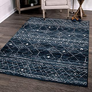 """product image for Orian Rugs Farmhouse Sonoma Collection 409987 Indoor/Outdoor Gabbeh Field Faded Area Rug, 5'2"""" x 7'6"""", Indigo Blue"""