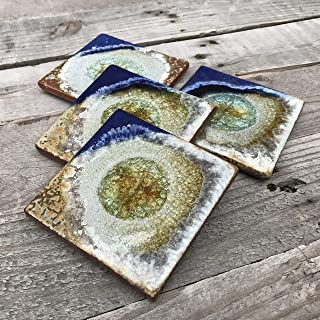 product image for Geode Crackle Coaster Set of 4 in Blue and Copper, Geode Coaster, Crackle Coaster, Fused Glass Coaster, Crackle Glass Coaster, Agate Coaster, Ceramic Coaster, Dock 6 Pottery Coaster