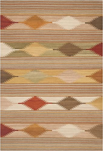 Safavieh Navajo Kilim Collection NVK175A Hand-Woven Natural and Multi Flatweave Wool Area Rug 10' x 14'