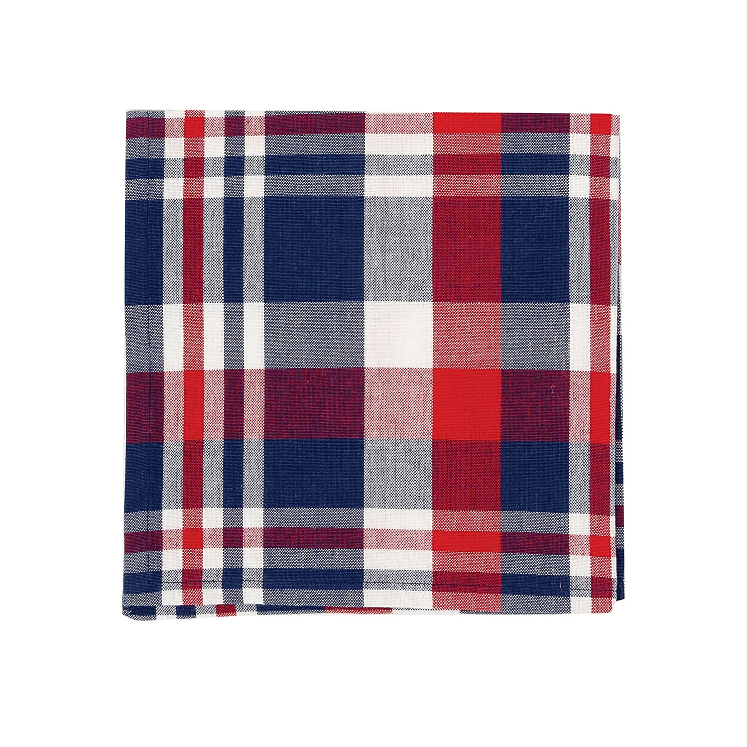 (Napkin, Harbor Red/Blue Plaid) - Harbour Red White and Blue Plaid Woven Cotton Napkin 18x18   B0762RLB1F