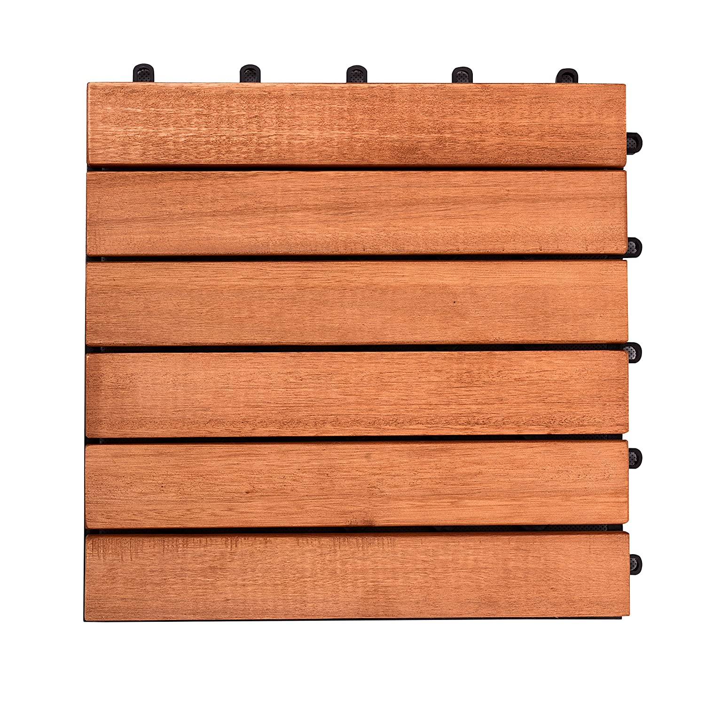 VIFAH V169 FSC Eucalyptus Six-Slat Deck Tiles, 10-Pack