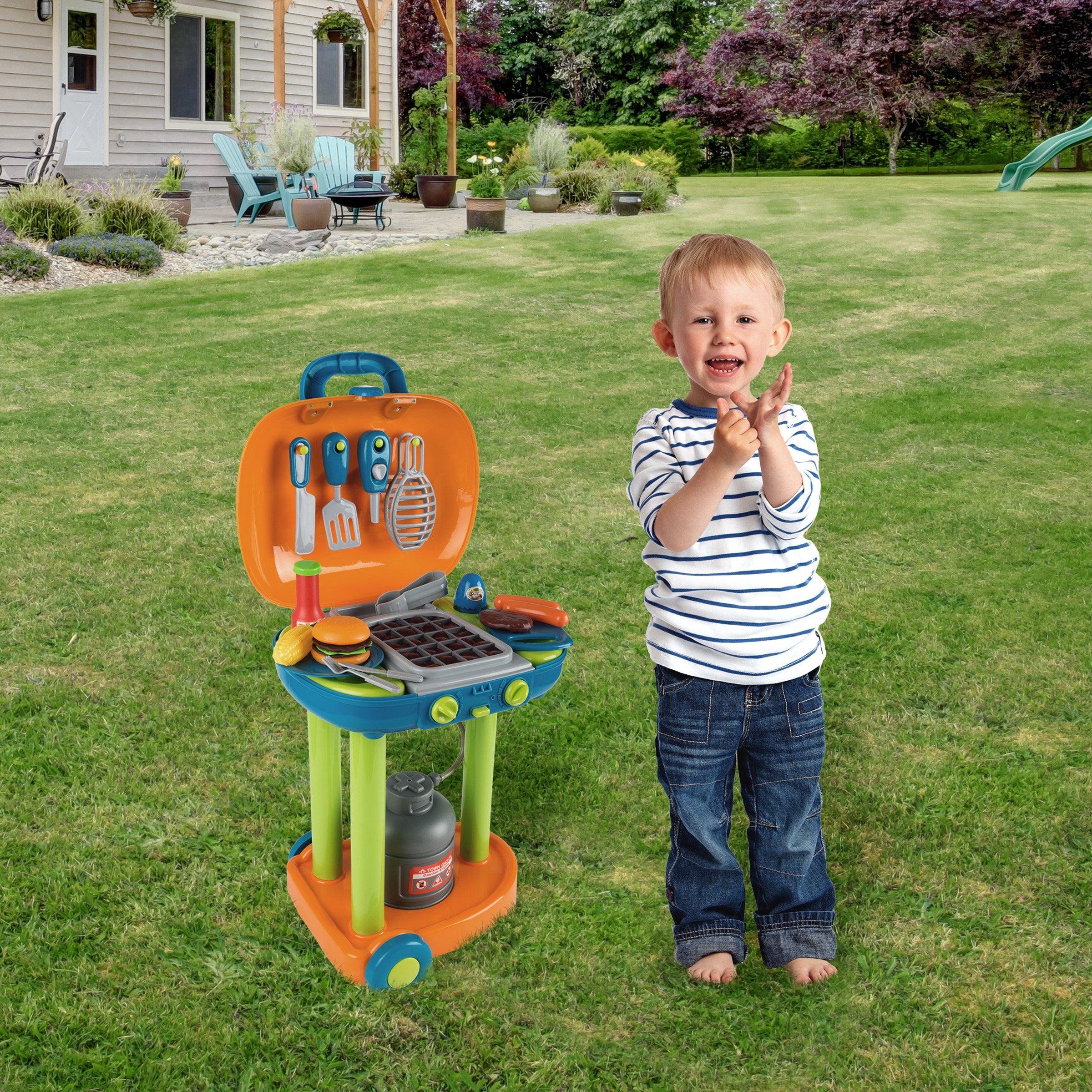 BBQ Grill Toy Set- Kids Dinner Playset with Realistic Sounds and Grate Lights- Includes Barbecue Food and Accessories, Pretend Kitchen by Hey! Play! (Image #7)