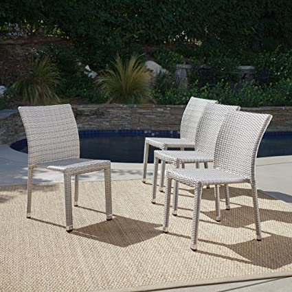 Fine Amazon Com Dorside Outdoor Chateau Grey Wicker Armless Interior Design Ideas Tzicisoteloinfo