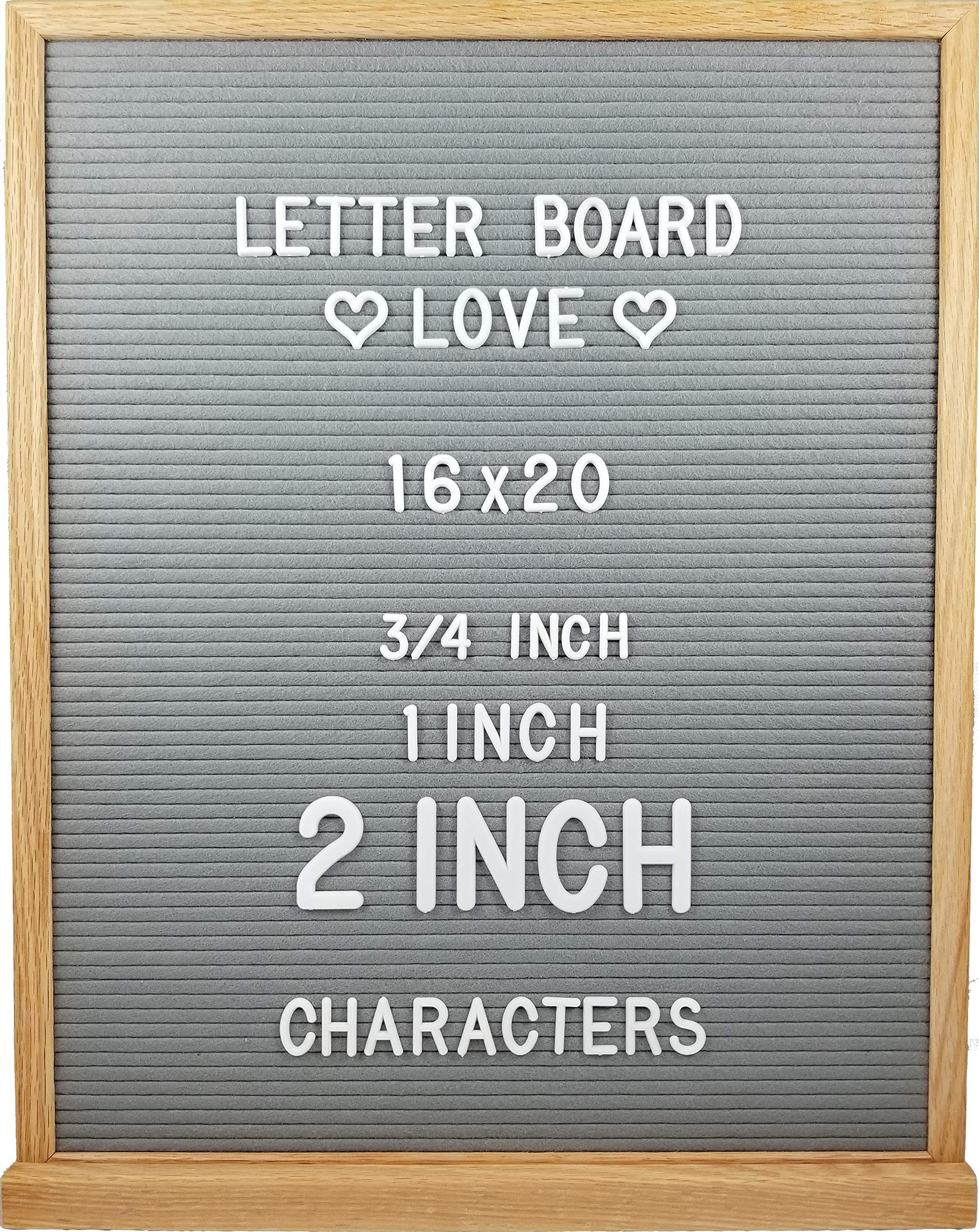 Oak Frame Felt Letter Board with Letters (16'' x 20'', Gray Felt)