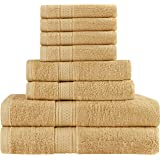 (Beige) - Premium 8 Piece Towel Set (Beige); 2 Bath Towels, 2 Hand Towels and 4 Washcloths - Cotton - Machine Washable, Hotel Quality, Super Soft and Highly Absorbent by Utopia Towels