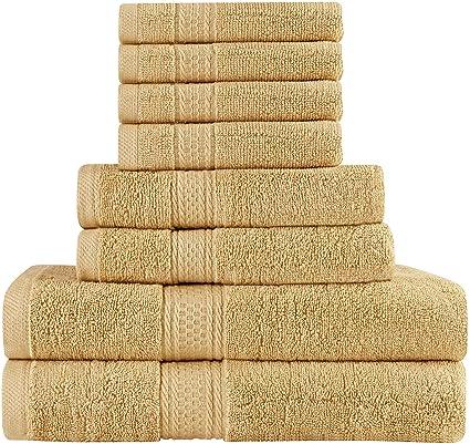 amazon com premium 8 piece towel set beige 2 bath towels 2 hand