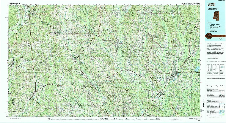 Topographic Map Mississippi.Amazon Com Yellowmaps Laurel Ms Topo Map 1 100000 Scale 30 X 60