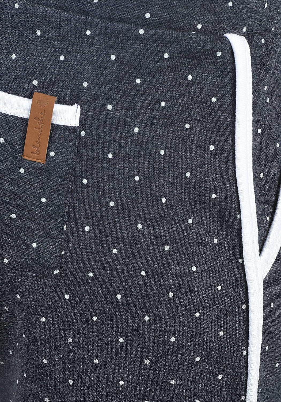 BlendShe Sanya Damen Sweatshorts Bermuda Shorts Kurze Hose Mit Fleece-Innenseite Und Punkte-Print Regular Fit